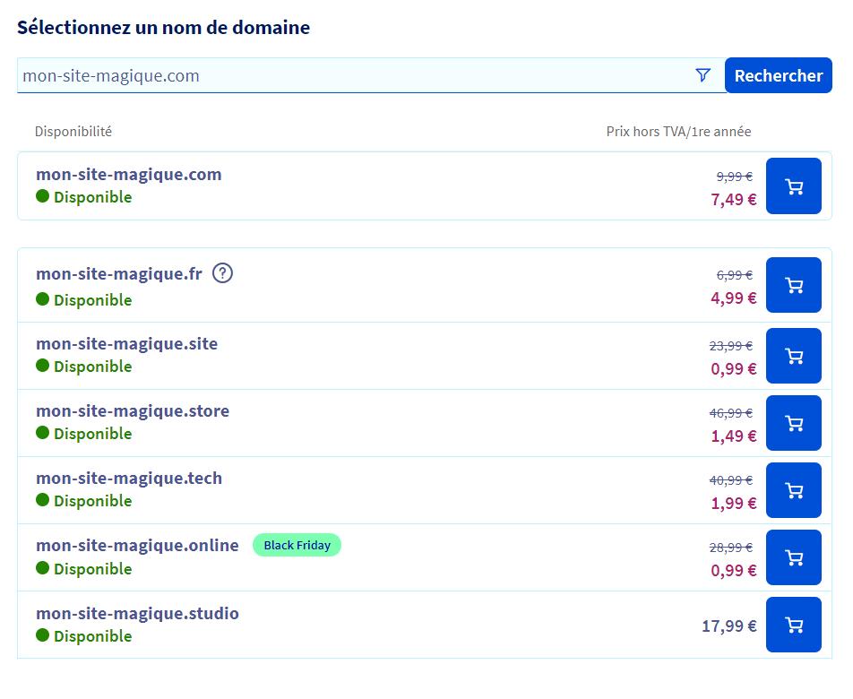 Serveurs Web: Trouver votre nom de domaine